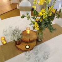 Wedding Reception - Spandex Chair Covers with Burlap Sash and Runner