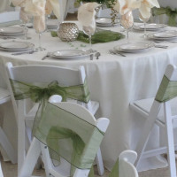 Ivory Polyester and Organza Runner