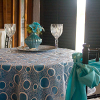 Polyester Linen with Overlay